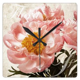 Pink Peony Flower Marble Script Background Square Wallclocks
