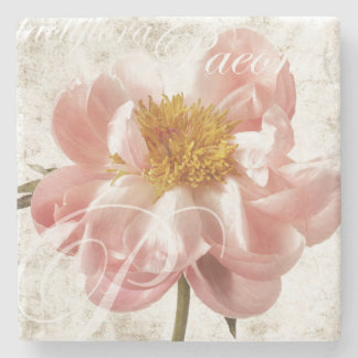 Pink Peony Flower Marble Script Background Stone Coaster