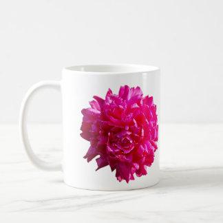 Pink peony flower mug