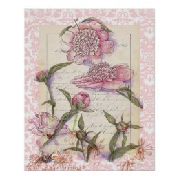Pink Peony Flower Pen and Ink Art Collage Drawing Poster