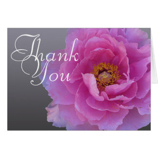 Pink Peony Flower Photo Chic Mod Floral Thank You Card