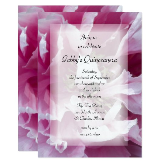 Pink Peony Flower Quinceanera Party Invitation