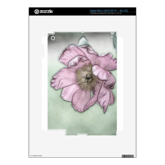 Pink Peony Flower Sketch Skin For iPad 3
