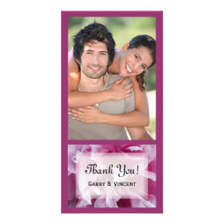 Pink Peony Flower Thank You Photo Card
