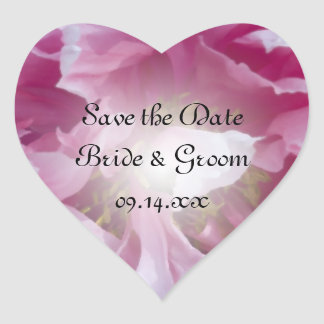 Pink Peony Flower Wedding Save the Date Heart Sticker