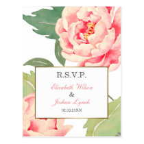 Pink Peony Flowers wedding rsvp Postcard