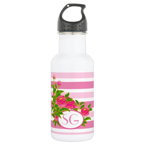 Pink Peony Flowers with Stripes / Monogram Stainless Steel Water Bottle