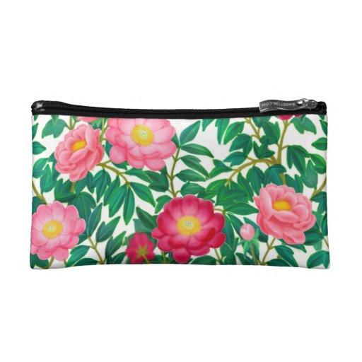 Pink Peony Garden Flowers Bagettes Bag Makeup Bag