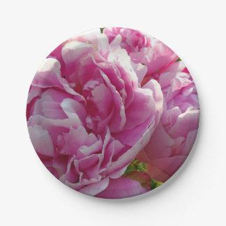 Pink Peony garden Paper Plate