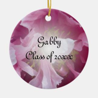 Pink Peony Graduation Photo Ornament