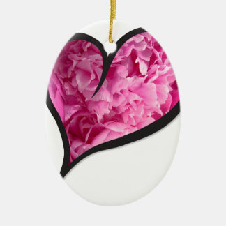 Pink Peony Heart Floral Design Ceramic Ornament