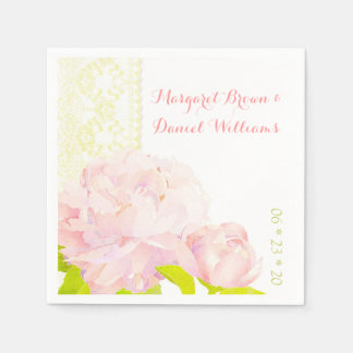 Pink Peony, Ivory Faux Lace Wedding Paper Napkins
