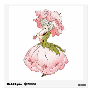 Pink Peony Lady Wall Decal