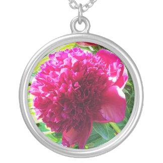 Pink Peony Round Pendant Necklace