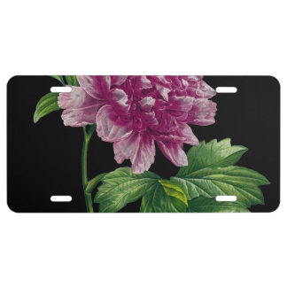 Pink Peony On Black Chic License Plate