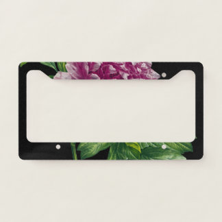 Pink Peony On Black Chic License Plate Frame