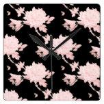 Pink Peony on Black clock