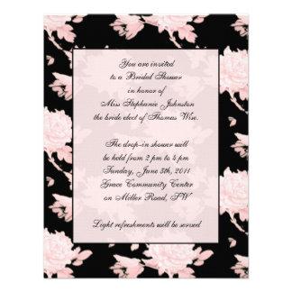 Pink Peony on Black invitation vintage feel
