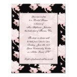 """Pink Peony on Black invitation vintage feel 4.25"""" X 5.5"""" Invitation Card"""