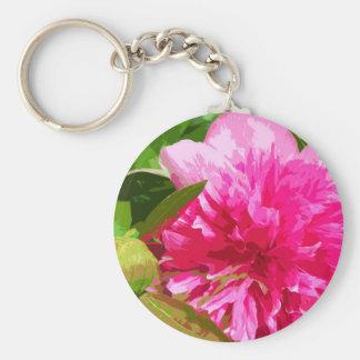 Pink Peony / Paeony Keychain
