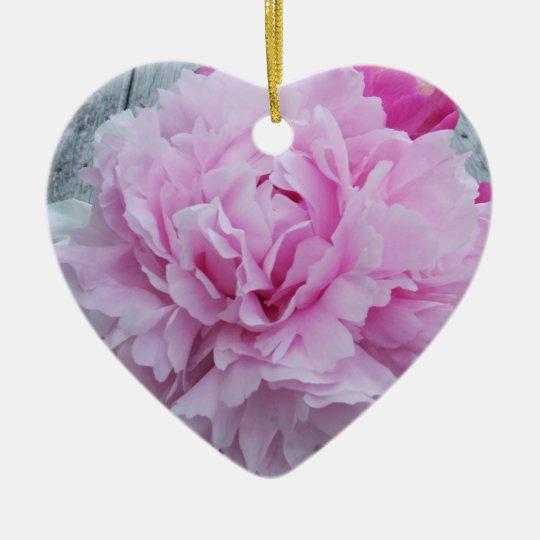 Pink Peony Peonies Flower Heart Ornament