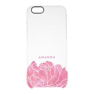 Pink Peony Petals Personalized Clear iPhone Case Uncommon Clearly™ Deflector iPhone 6 Case