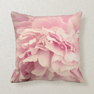 Pink Peony Petals Throw Pillow