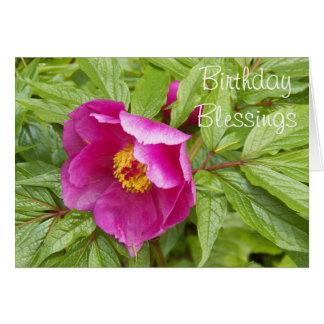 Pink Peony Photo Religious Birthday Card