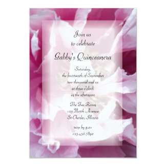 "Pink Peony Quinceanera Party Invitation 5"" X 7"" Invitation Card"