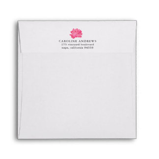 Pink Peony Return Address Envelope w/ Stripe Liner