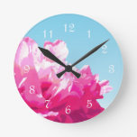 Pink Peony Round Clock