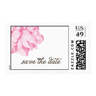 pink peony save the date postage