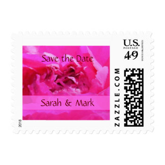 Pink Peony Save the Date Wedding Stamp