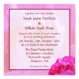 Pink Peony Square Wedding 5.25x5.25 Square Paper Invitation Card