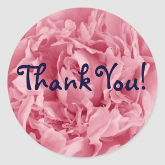 Pink Peony, Thank You! Classic Round Sticker