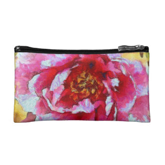 Pink Peony Van Gogh Style Cosmetic Bag