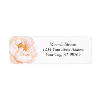 Pink Peony Watercolor Floral Label