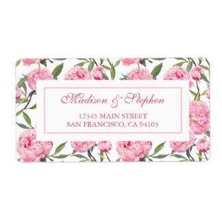 Pink Peony Watercolor Flowers -  Wedding Label
