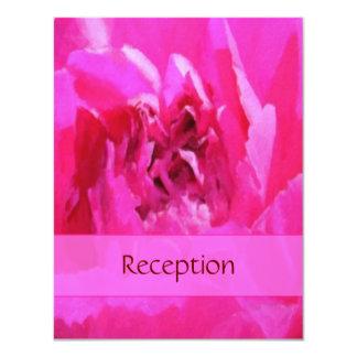 Pink Peony Wedding Reception 4.25x5.5 Paper Invitation Card