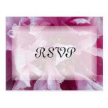 Pink Peony Wedding RSVP Response Postcard