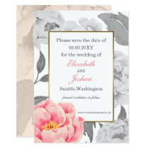 Pink Peony wedding save the date Card