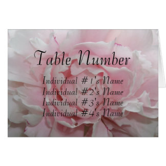 Pink Peony Wedding Table Place Card Template