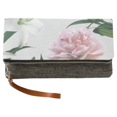 Pink Peony White Lily Floral Clutch