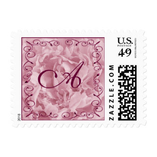 Pink Peony with Twirl Border, Monogram Postage Stamp