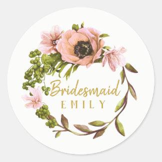 Pink Peony Wreath Bridesmaid Name ID456 Classic Round Sticker
