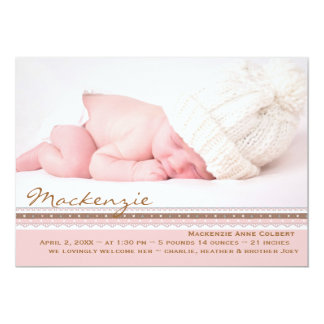Pink Perfection Photo Birth Announcement