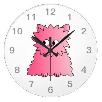 Pink Persian Cat. Large Clock