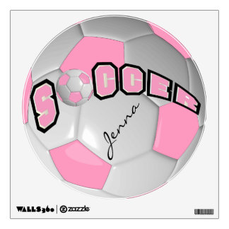 Pink Personalize Soccer Ball Wall Skin