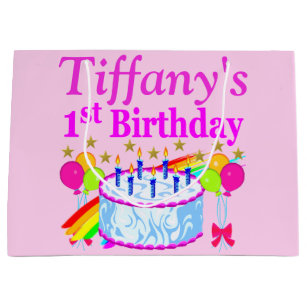 PINK PERSONALIZED 1ST BIRTHDAY CAKE GIFT BAG