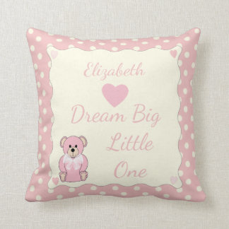 Pink Personalized baby name Teddy Bear Throw Pillow